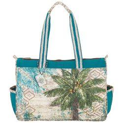 Sun N' Sand Aqua Escape Palm Tree Medium Tote Handbag