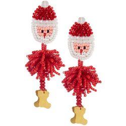 Brighten the Season Santa Beaded Drop Earrings