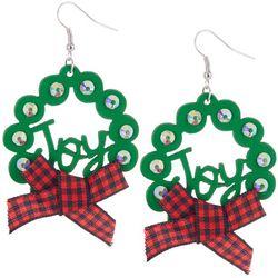 Brighten the Season Wood Joy Wreath Earrings