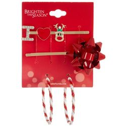 Brighten the Season 3-Pc. Holiday Hairpin & Hoop Earring Set