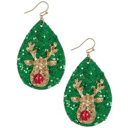 Brighten the Season Glitter Teardrop Reindeer Earrings