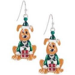 Brighten the Season Enamel Santa Dog Dangle Earrings