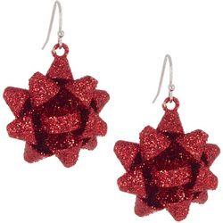 Brighten the Season Red Glitter Bow Drop Earrings