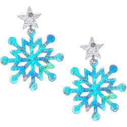 Brighten the Season Glitter Resin Snowflake Drop Earrings