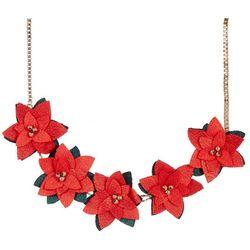 Brighten the Season Poinsettia Frontal Necklace