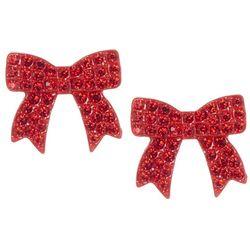 Brighten the Season Pave Rhinestone Bow Earrings