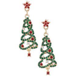 Brighten the Season  Rhinestone Christmas Tree Drop Earrings