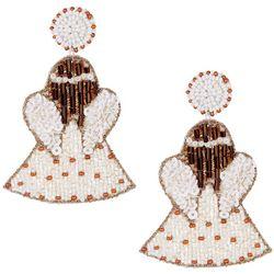 Brighten the Season Beaded Angel Drop Earrings