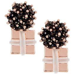 Brighten the Season Beaded Bow Gift Drop Earrings