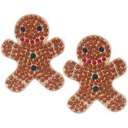 Brighten the Season Gingerbreadman Pave Rhinestone Earrings
