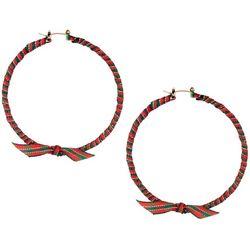 Brighten the Season Ribbon Wrapped 60mm Hoop Earrings