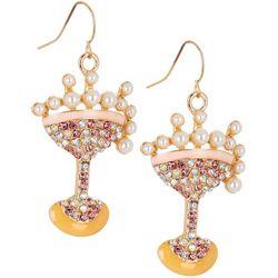 Brighten the Season Rhinestone Martini Earrings