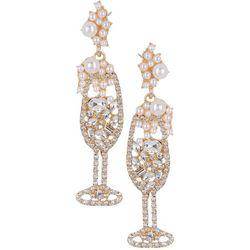 Brighten the Season Rhinestone Champagne Glass Earrings