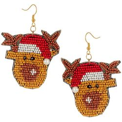 Brighten the Season Beaded Santa Reindeer Earrings