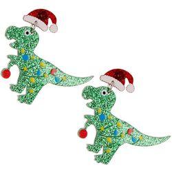 Brighten the Season T-Rex Santa Resin Drop Earrings