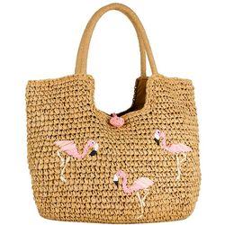 Magid Straw Braid Flamingo Beach Bag Tote