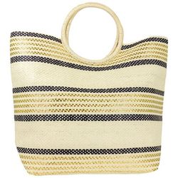 Magid Ring Handle Striped Straw Beach Tote