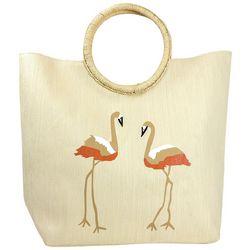 Magid Flamingo Straw Beach Tote