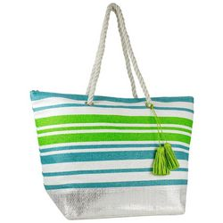 Magid Striped Metallic Beach Bag Tote