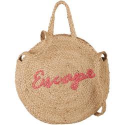 Escape Graphic Straw Tote Handbag