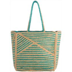 Shiraleah Blocked Stripes Straw Tote Handbag