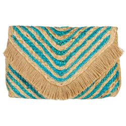 Estrella Fold Frayed Chevron Clutch Handbag