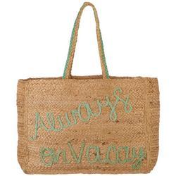 Always On Vacay Jute Tote Handbag