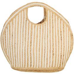 Marina Striped Round Straw Tote Handbag