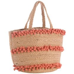 Shiraleah Aubrey Pom Pom Stripes Straw Tote Handbag