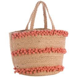 Aubrey Pom Pom Stripes Straw Tote Handbag