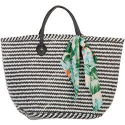 Shiraleah Tessa Chevron Stripes Scarf Straw Tote Handbag