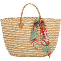Shiraleah Tessa Chevron Stripes Scarf Straw Tote Handbag