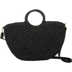 Straw Leopard Lined Dark Tote Handbag