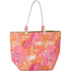 Top It Off Coral Print Beach Bag Tote
