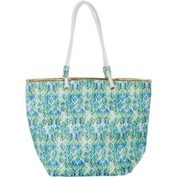 Top It Off Green Print Beach Bag Tote