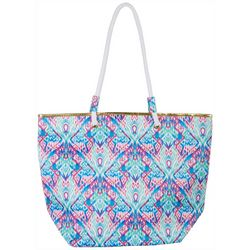 Top It Off Ikat Watercolor Printed Beach Bag Tote