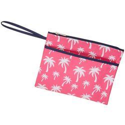 Viv & Lou Hot Pink Palm Trim Zipper Pouch Wristlet