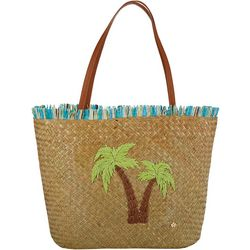 Capelli Embroidered Palm Tree Straw Beach Bag Tote