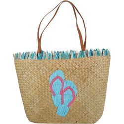 Capelli Embroidered Palm Straw Beach Bag Tote