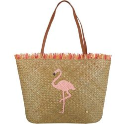 Capelli Embroidered Flamingo Straw Beach Bag Tote
