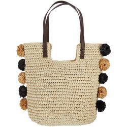 Capelli Woven Pom Pom Tote Handbag
