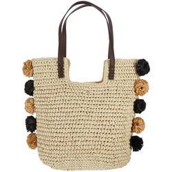 Woven Pom Pom Tote Handbag