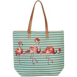 Capelli Striped Flamingo Tote Handbag