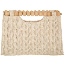 D'Margeaux Woven Straw Wooden Bead Handle Clutch