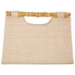 D'Margeaux Woven Straw Bamboo Handle Clutch
