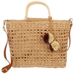 Imoshion Handmade Woven Straw Pom-Pom Handbag