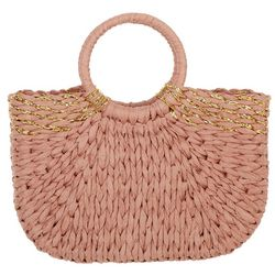 Imoshion Straw Gold Accent Double Ring Tote Handbag