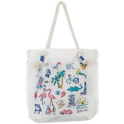 Coral Bay Florida Doodles Tote Handbag
