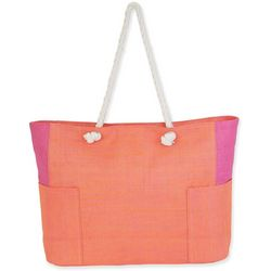 Sun N' Sand Colorblock Rope Handles Beach Bag Tote
