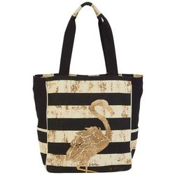 Paul Brent  Flamingo Striped Beach Bag Tote